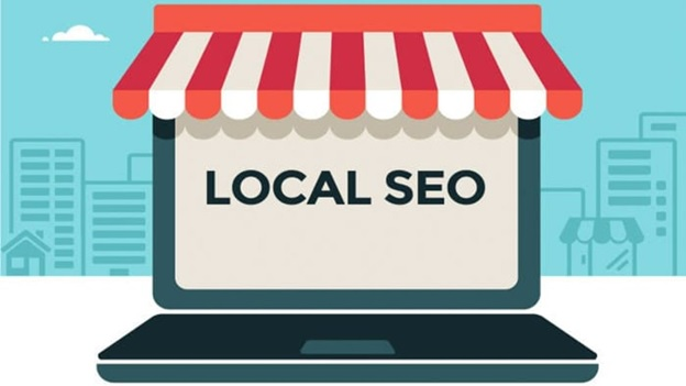 Local SEO text on laptop